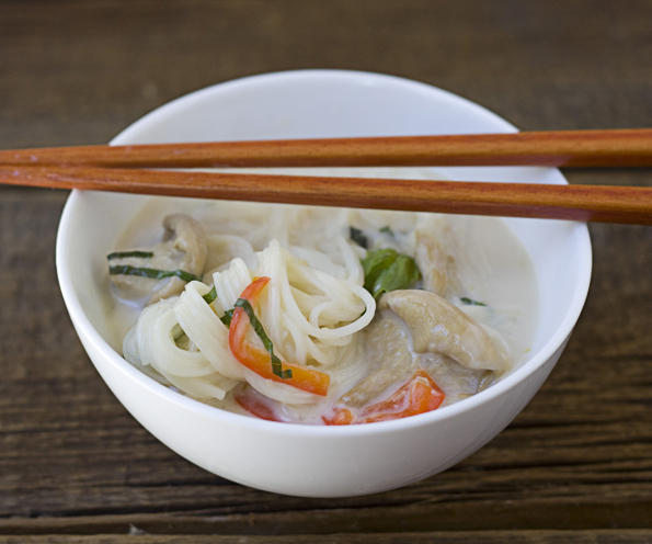 Bowl of Coconut Lemongrass Somen Noodle Soup