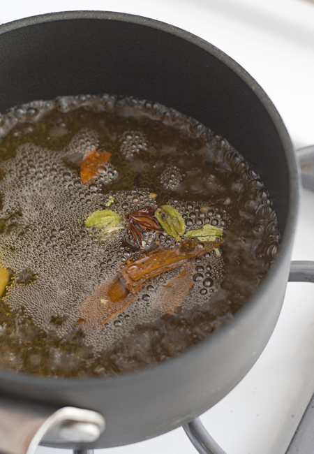 Bring spices and mugicha to a boil over medium heat