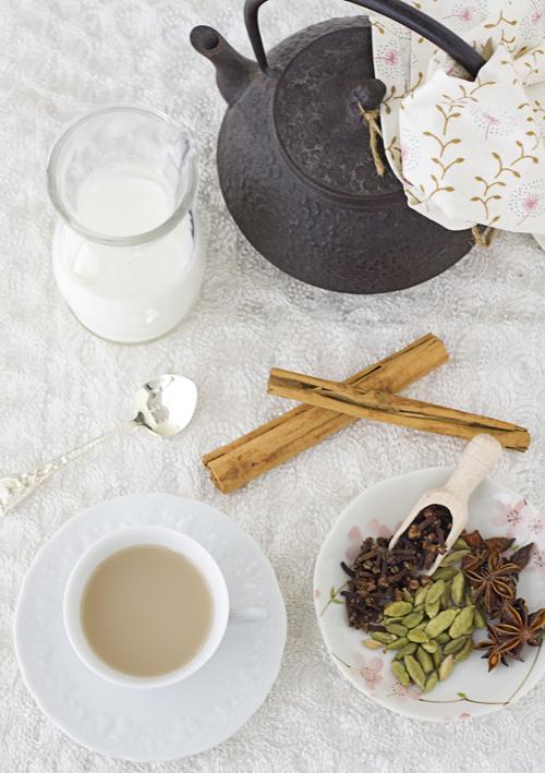 Enjoying a cup of mugi-chai