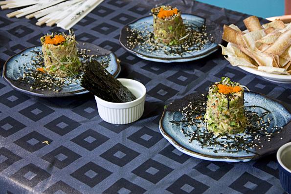 SushiZuri Appetizers-- Various tartars with baked wonton crackers
