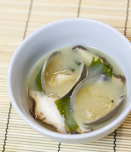 Miso Soup with Clams, Shiitake Mushrooms, & Wakame