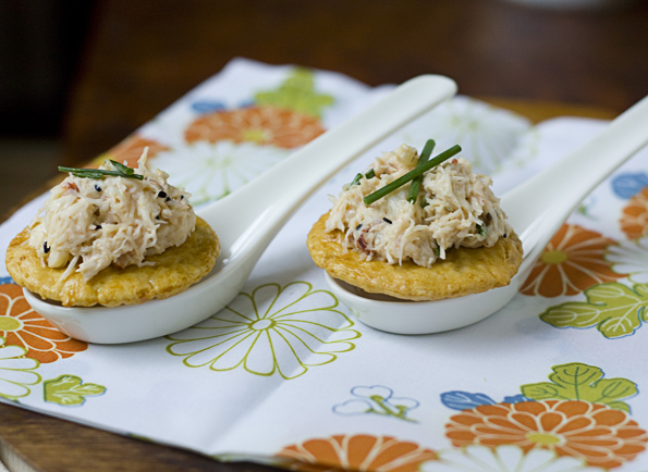 Crab Salad On Rice Crackers
