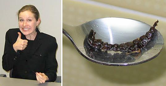 Eating Zazamushi in Japan