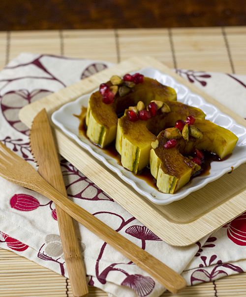 Roasted Delicata Squash with a Pomegranate Reduction