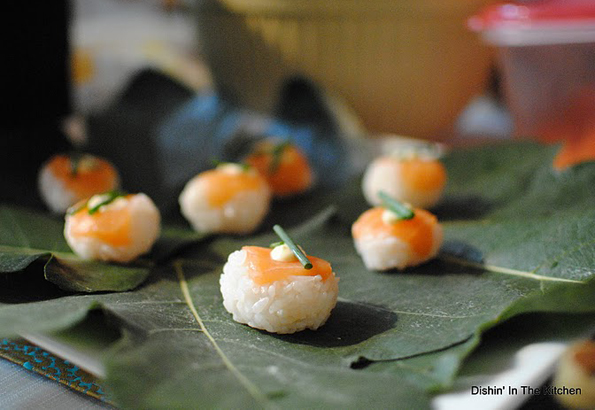 Salmon Temarizushi on beautiful fig leaves