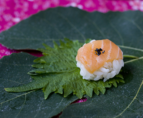 Salmon Temarizushi with black sesame seeds