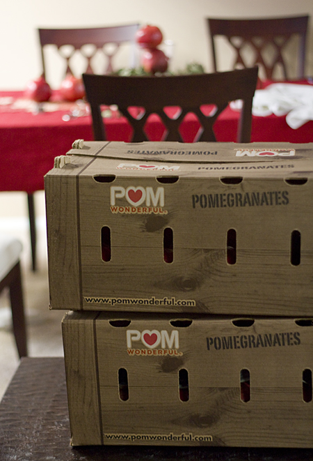 Boxes of fresh pomegranates