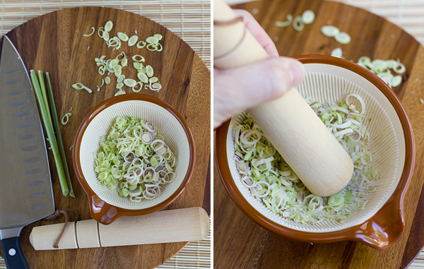 Crush the slices with a mortar and pestle