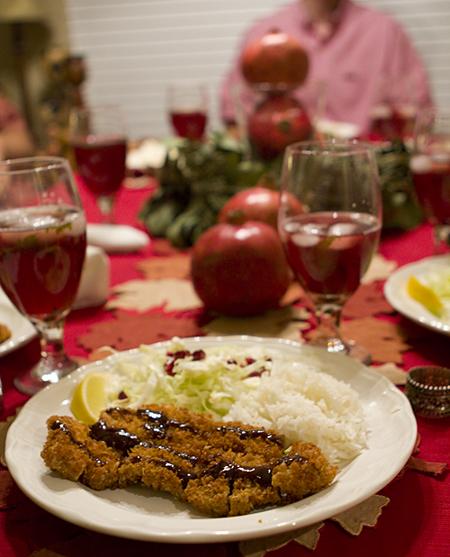 Main Course -- Tonkatsu with pomegranate tonkatsu sauce