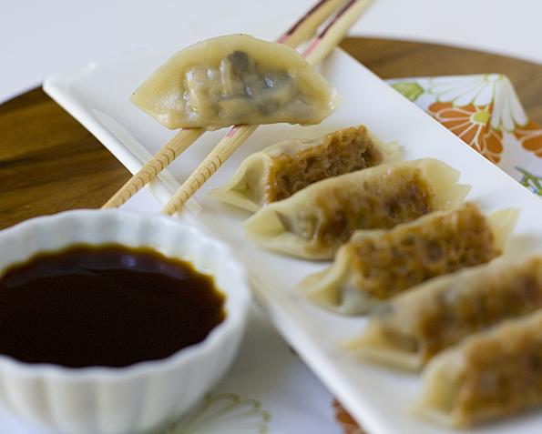 Mushroom Pancetta Gyoza (Japanese Pan-fried Dumplings)