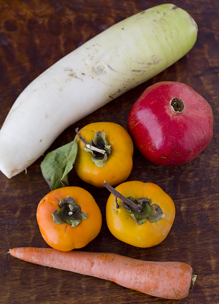Daikon, Persimmons, Pomegranate, and Carrot