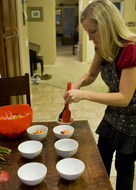 Plating the salad course