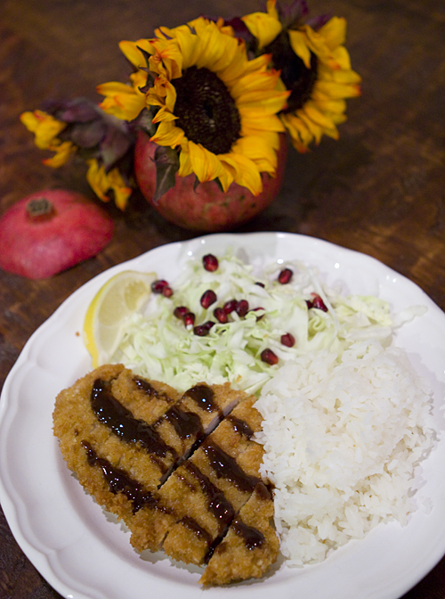 Tonkatsu with Pomegranate Tonkatsu Sauce, Shredded Cabbage, and Pomegranate Arils