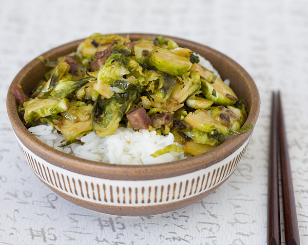 Warm Bacon Brussels Sprouts Slaw over steamed Japanese rice