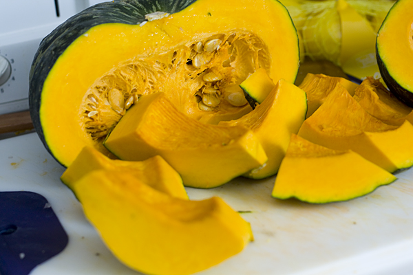 Prepping kabocha for the soup