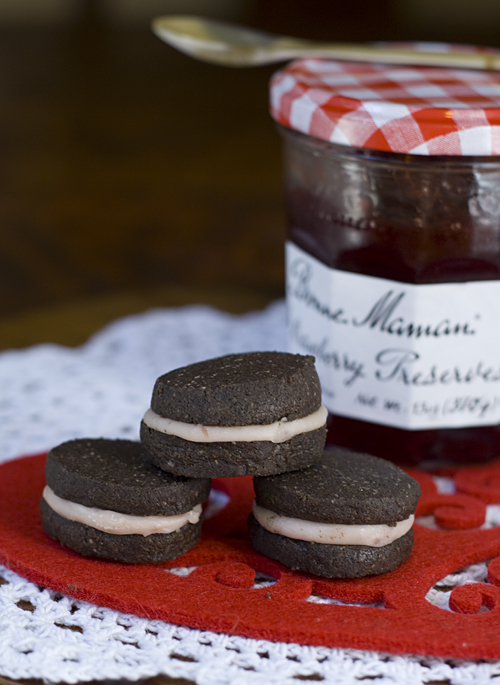 Chocolate Sandwich Cookies for Valentine's Day