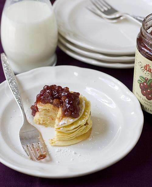 Enjoying a mini stack of Swedish Pancakes