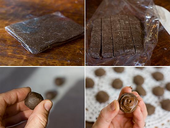 making chocolate nutella sandwich cookies