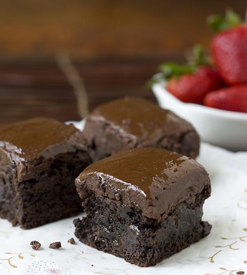 Dark Chocolate Buckwheat Brownies with Nutella Ganache