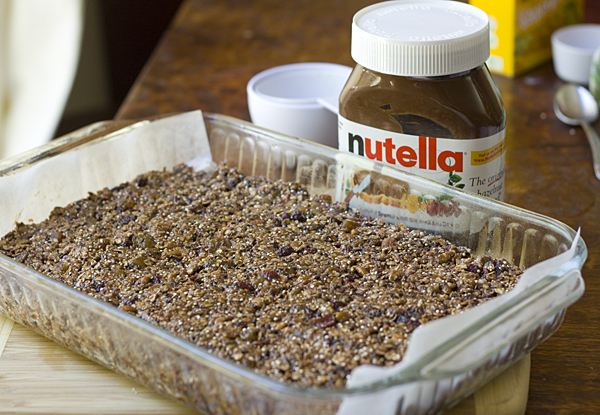 Nutella Fruit and Nut Bars ready to be baked