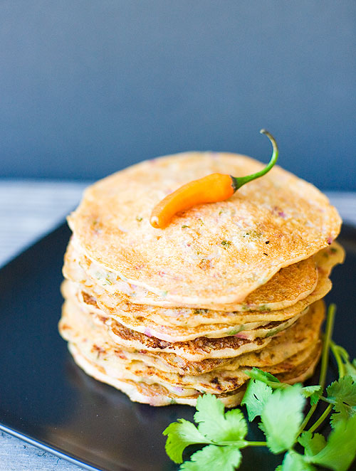 Savory Indian Pancakes (Semolina and Yogurt Pancakes)