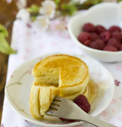 Soft, fluffy, chewy orange mochi pancakes