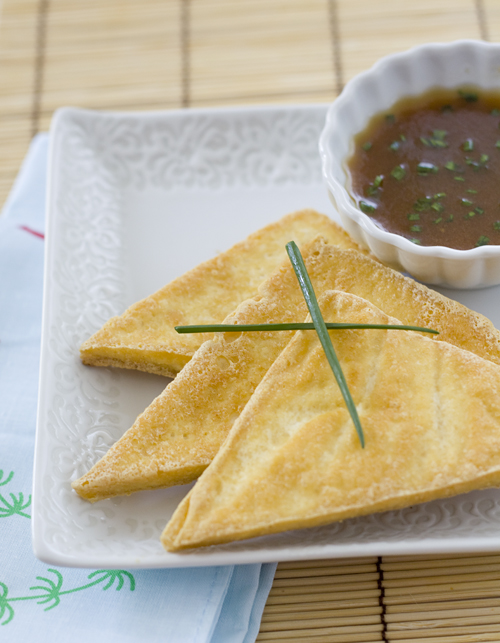 Crispy Tofu Triangles with Asian Dipping Sauce