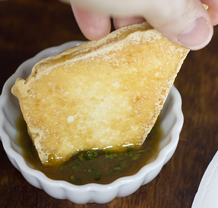 Dipping Tofu Triangles
