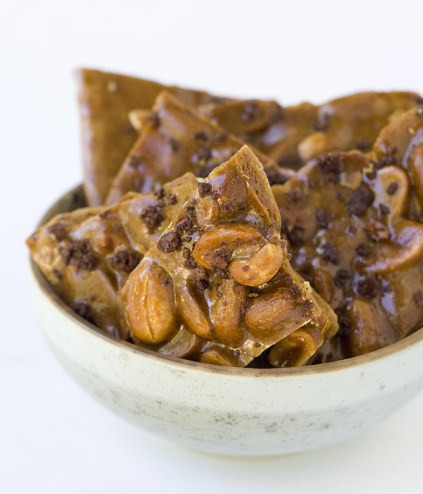 Caramelized Cacao Nib Peanut Brittle