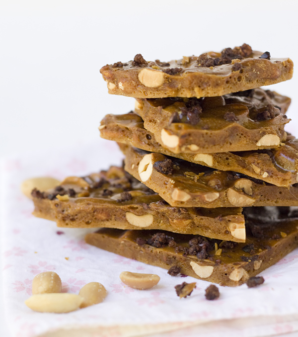Stack of Caramelized Cacao Nib Peanut Brittle