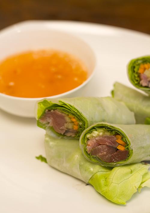 Tuna Tataki Summer Rolls with Dipping Sauce