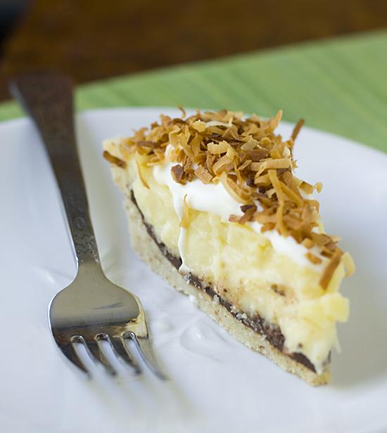 Fudge and Coconut Custard Pie