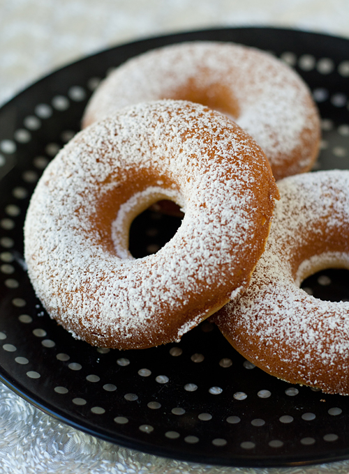 Mochi Mochi DOnuts dusted with confectioner's sugar