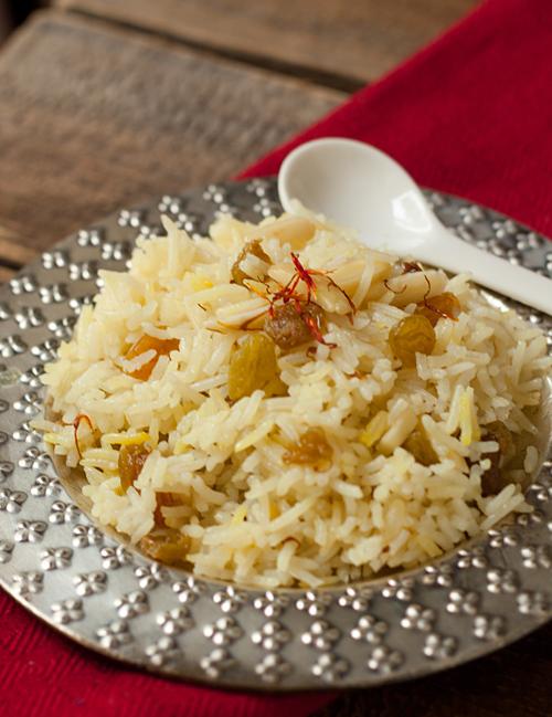 Saffron Rice with Raisins and Almonds