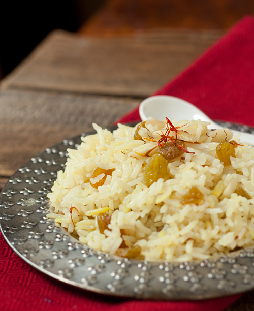 Saffron Rice with Raisins and Almonds Recipe — La Fuji Mama