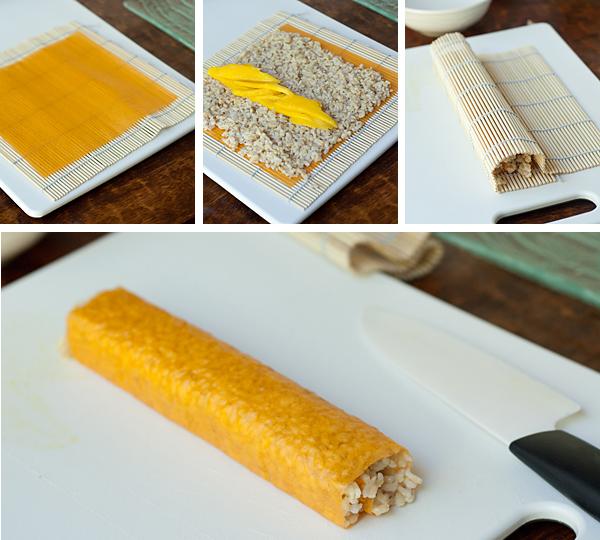 Assembling a mango sushi roll