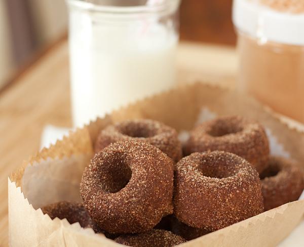 Baked Cinnamon and Sugar Tofu Donuts ready to eat
