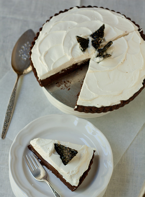 Chocolate Truffle Tart with Black Sesame Brittle