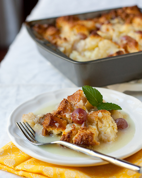 Grape Bread Pudding with White Chocolate Sauce