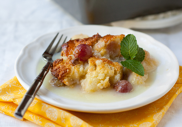 Easy Grape Bread Pudding with White Chocolate Sauce