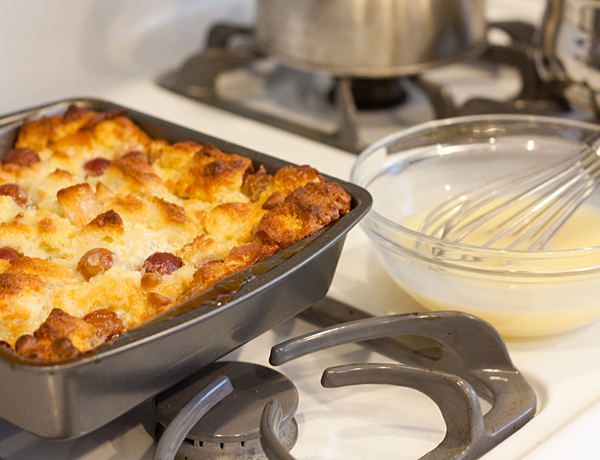 Grape Bread Pudding hot out of the oven