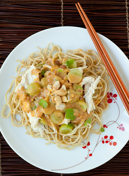 Grape and Chicken Noodle Salad with Peanut Sauce