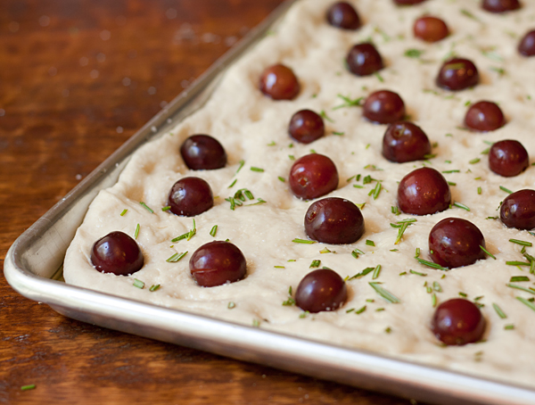 Grape and Rosemary Focaccia ready to go into the oven
