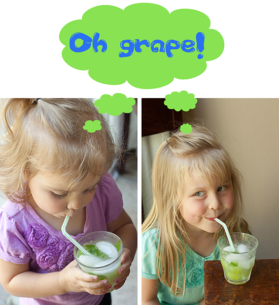 Kiddos having a grape summer with some green grape spritzers