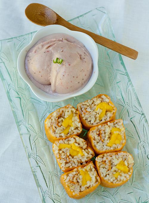 Refreshing Mango Sushi and Strawberry Coconut Ice Cream