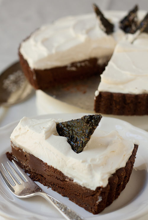 Chocolate Truffle Tart with Black Sesame Brittle Recipe ...