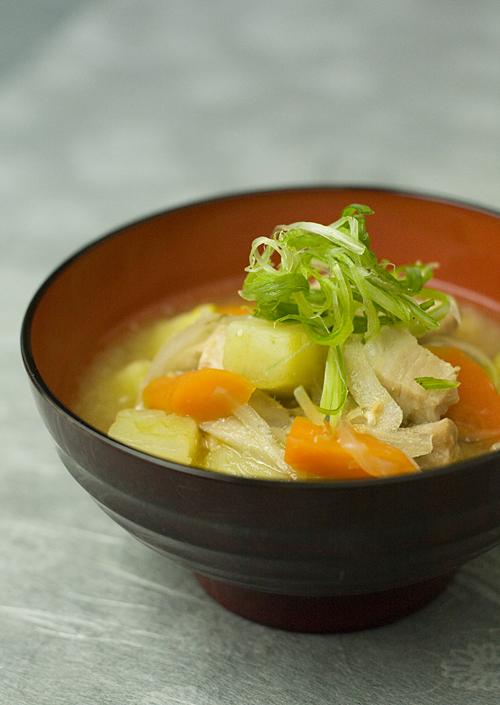 Tonjiru---pork and vegetable miso soup