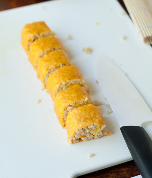 Slicing the mango roll
