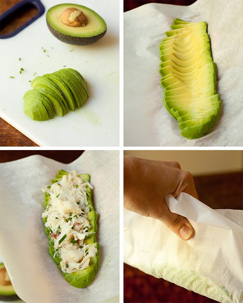 Assembling the Avocado Crab Roll