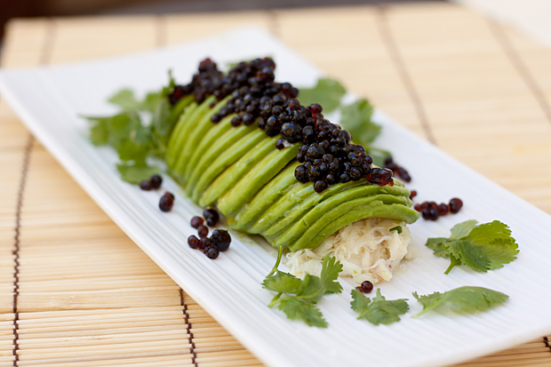 "Avocado Crab Roll With Soy Sauce ""Caviar"" Recipe — Dishmaps"